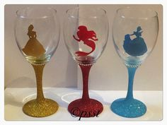 Disney Princess Silhouette Glitter Wine Glass by PsstGifts