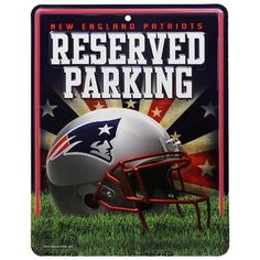 NFL New England Patriots Parking Sign by Rico. $10.71. Measures 8.5-inches-by-11-inches. Made in the USA. Embossed metal. 4-color process graphics. Park your spirit with Rico Tag's 8.5 -inch-by-11-inch officially licensed Parking Sign. Embossed metal parking sign is printed with bold 4-color process graphics. Hang in the garage or in the house!