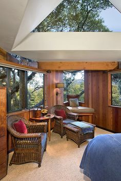 Inside the Tree House Suite at the Post Ranch Inn, on the cliffs of Big Sur, California.