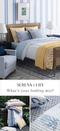 What is your bedding mix? We believe mixing pattern and color makes a bedroom pop and is a great way to express your personality. Find your perfect mix today at Serena & Lily.