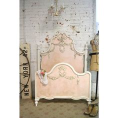 Painted Cottage La Petite Marie Antoinette Romantic Deluxe French Bed ($1,040) ❤ liked on Polyvore featuring home, furniture, beds, bedroom furniture, beds & headboards, home & living, white, door headboard, white storage bed and white headboard