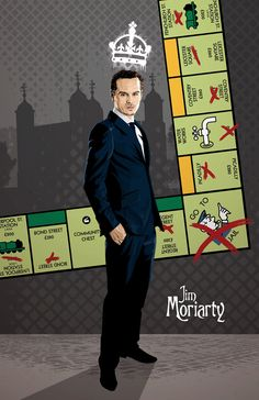 Andrew Scott as Jim Moriarty, Digital Print by DadManCult, $9.99    Part of a set of three that includes Mycroft, and Sherlock and Watson.