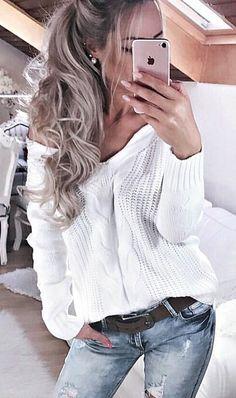 #fall #outfits women's white off-shoulder sweatshirt