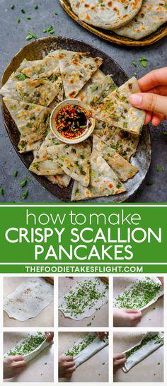 Crispy Scallion Pancakes (Vegan Recipe) Delicious Vegan Recipes, Vegetarian Recipes, Healthy Recipes, Healthy Food, Tasty, Asian Recipes, Ethnic Recipes, Chinese Recipes, Vegan Finger Foods