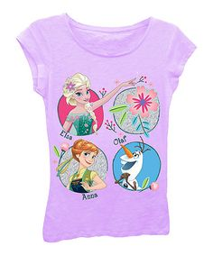 Love this Frozen 'Elsa, Anna, Olaf' Lilac Floral Cap-Sleeve Tee - Girls on #zulily! #zulilyfinds