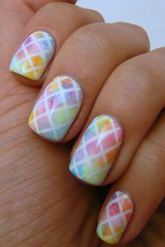 Geometric watercolor nails