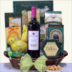 Happy easter sugar free gourmet easter gift basket easter gift beringer easter merlot wine gourmet gift basket negle Images