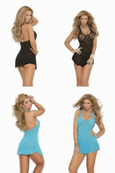 Turquoise and bLack Elegant Lingerie Women's Plus-Size Lace Halter Mini Dress
