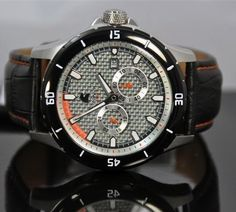 Carucci limited edition 300 pieces worldwide  €239,- for €119,- 10 atm waterproof automatic watch with leather strap and folding clasp. www.megawatchoutlet.com Sport Watches, Watches For Men, Popular Sports, Automatic Watch, Band, Leather, Accessories, Collection, Clocks
