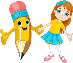Illustration of Little girl holding the hand of a giant pencil vector art, clipart and stock vectors.