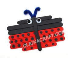 Popsicle Stick Ladybug Fun and Easy Project – Summer Crafts for Kids to Do Popsicle Stick Art, Popsicle Stick Crafts, Craft Stick Crafts, Crafts To Do, Kids Crafts, Craft Kids, Easy Crafts, Preschool Projects, Classroom Crafts