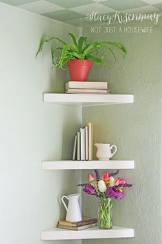 Jaw-Dropping Tips: Floating Shelves Arrangement Hallways staggered floating shelves picture ledge.Floating Shelf Under Tv Diy floating shelves living room decoration.Floating Shelves Next To Tv Master Bath. Diy Corner Shelf, Corner Shelves Bedroom, Bed Shelves, Shelf Desk, Shelf Wall, Floating Shelves Bathroom, White Floating Corner Shelves, Best Decor, My New Room