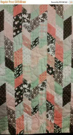 Mint Green Coral White Geometric Girl Baby Crib Toddler Cot Nursery Girl Gender Reveal New Baby Gift
