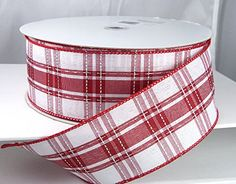 """Xmas Value 374 Wired Red, White and Silver Plaid Christmas Ribbon 2 1/2"""" - 50 Yards Lion Ribbon http://www.amazon.com/dp/B00PO74ZCS/ref=cm_sw_r_pi_dp_hZS3vb1A5F4CB"""