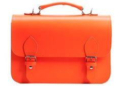 cartable orange fluo en cuir