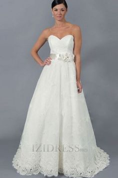 A-line Strapless Sweetheart Lace Organza A-Line Wedding Dresses at IZIDRESS.com