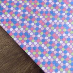 Coupon  de tissu coton liberty motif rond multicolore pastel