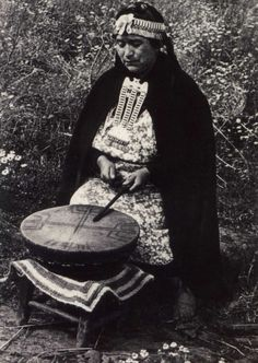Machi (Mapuche Shaman) playing the Kultrún (Sacred Drum), Chile