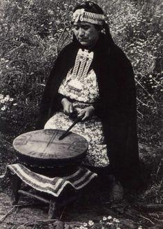 Machi (Mapuche Shaman) playing the Kultrún (Sacred Drum), Chile