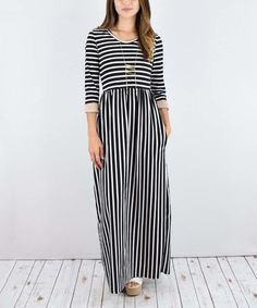 Another great find on #zulily! Mocha Stripe Pocket Maxi Dress #zulilyfinds