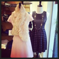 Beautiful Ted Baker LBD, little pink wool dress & fur stole, Alexis Bitar Necklaces. www.chelseagiftsonline.com
