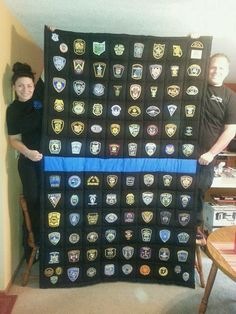 After months of collecting patches from departments around the country and even some from other countries, after over 240 hours of cutting, . Police Gear, Police Uniforms, Police Wife, Police Officer, Souvenir Display, Police Crafts, Fallen Officer, Police Lives Matter, Keepsake Quilting