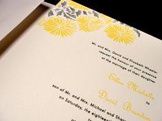 Bright as the Sun Custom Color Wedding Invitation Spring Summer Fall Yellow Black Sunflower Daisy Flower by PrEttYLiLNoTeS on Etsy, $2.50 www.prettylilnotes.com