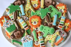 Safari Animal Birthday Party Sugar Cookies (3 dozen)