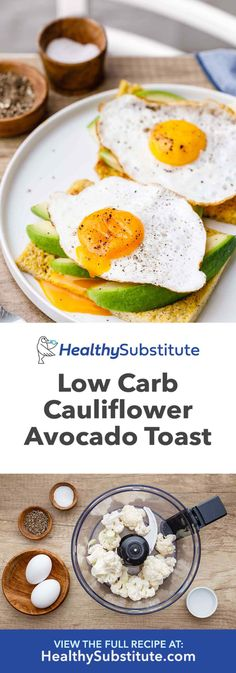 Genius Low Carb Avocado Toast (Made with Cauliflower!) – Healthy Substitute Genius Low Carb Avocado Toast (Made with Cauliflower! Best Low Carb Recipes, Whole Food Recipes, Healthy Recipes, Diabetic Recipes, Healthy Meals, Healthy Food, Lowest Carb Bread Recipe, Low Carb Bread, Paleo Bread