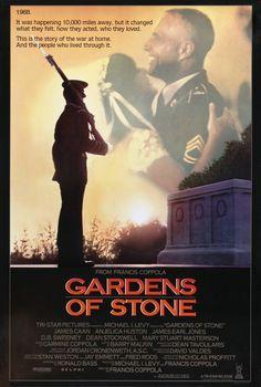 """Gardens Of Stone"" movie poster, 1987. Anjelica Huston, Films Cinema, Cinema Posters, Film Posters, Mary Stuart Masterson, Elias Koteas, Dean Stockwell, Gardens Of Stone, Earl Jones"