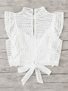 Ruffle Trim Knot Back Lace TopFor Women-romwe Ruffle Trim Knot Back Lace TopFor Women-romwe Ruffle Trim Knot Back Lace TopFor Women-romwe Doll Clothes Patterns, Clothing Patterns, Zara Tops, Blouse Styles, Blouse Designs, White Lace Blouse, Look Boho, Romwe, Crochet Clothes