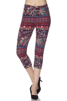 """Description These leggings are a soft as a feather. With a super cute design wrapping your legs and has you saying """"WOW"""". Care Instructions Machine wash cold in a laundry sack and hang to dry. Cute Designs, Feathers, Paisley, Size 2, Capri, Wraps, Super Cute, Product Description, Spandex"""