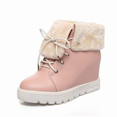 Carolbar Women's Sweet Cute Lace up Faux Fur Lolita Cosplay Winter Wedge Heel Dress Snow Boots *** Read more reviews of the product by visiting the link on the image.