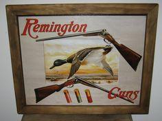 Framed Vintage Style Tin Sign, Remington Guns  duck. guns, hunting, 2nd amendment, man cave, USA, garage decor, wall hanging