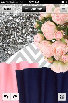 Color scheme navy silver blush peony wedding
