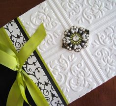 Wedding Guest Book, Black & White Vintage Beaded, Textured, Gothic, Custom, Handmade 5.5 x 10. $60.00, via Etsy.
