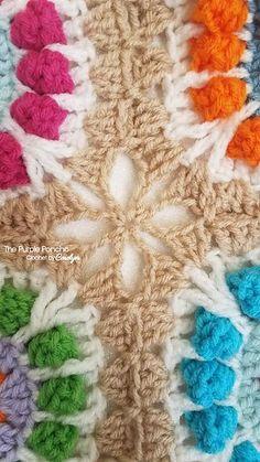 granny square poncho Flower Pop Granny Square Blanket Flower Pop Granny Square Blanket - The Purple Poncho Flower Pop Granny Square Blanket Baby Afghan Crochet, Crochet Squares, Crochet Granny, Crochet Motif, Free Crochet, Crochet Mask, Crochet Quilt, Crochet Borders, Crochet Stitches