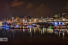 Hamburg SPORT BOAT HARBOR at night by Sabine Wagner on 500px
