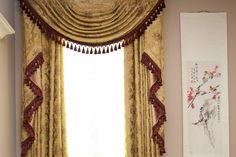 Silver silk shantung fabric w/ black tassels (on pale coral walls) Fancy Curtains, Elegant Curtains, Sheer Drapes, Beautiful Curtains, Curtains With Blinds, Valance Curtains, Valances, Swags And Tails, Types Of Window Treatments