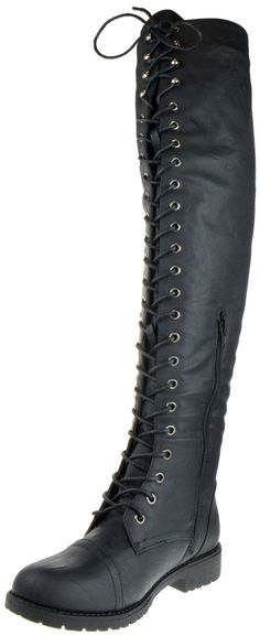 3e5ea9d07814 Shoe Dezigns Rider 33 Womens Thigh High Lace Up Combat Boots Black 6 ***  Details can be found by clicking on the image. (This is an affiliate link) 0