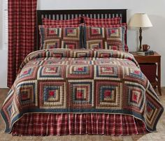 Americana inspired, hand quilted, 100% cotton, log cabin heirloom patchwork in navy, apple red and natural tones.
