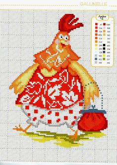 "I know that this is a chicken and all lthat but. I love it and it might get lost in the ""Chicken"" board. Rooster Cross Stitch, Chicken Cross Stitch, Cross Stitch Animals, Cross Stitching, Cross Stitch Embroidery, Embroidery Patterns, Cross Stitch Patterns, Graph Paper Art, Easter Cross"