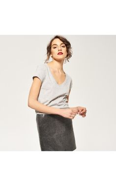 V-neck t-shirt, NEW COLLECTION SK 16, grey, RESERVED