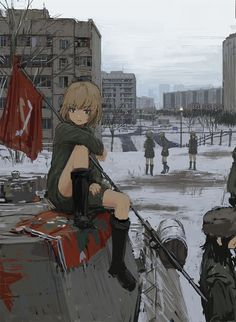 Anime picture 				945x1291 with  		girls und panzer 		katyusha 		uehara (artist) 		tall image 		short hair 		blue eyes 		black hair 		brown hair 		multiple girls 		fringe 		sitting 		looking away 		standing 		bent knee (knees) 		hair between eyes 		city 		snow 		outdoors 		cloudy sky 		serious