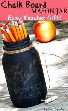 Give Teacher this adorable mason jar chalkboard as a heartfelt thank you.
