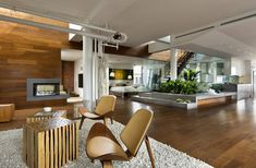 Apartment Design, Design A Living Room As White Fur Rug As Wooden Floor And Wwooden Walls And Couple Chairs Penthouse Urban Garden 6: Remark...