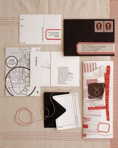 """The stationery, designed by the bride, Randi, was letterpressed in brown ink. The stickers on envelopes and addresses on reply cards were outlined with a rubber stamp inspired by a vintage label. The invitations were blind hit in Hebrew with the biblical love story of Jacob and Rachel (Randi's Hebrew name); highlighted are the words """"Jacob kissed Rachel."""" Each bundle is tied with baker's twine."""