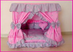 Princess Grey Pink Heart Pet Dog Handmade Bed Candy Pillow M
