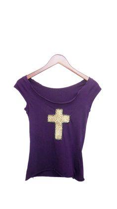 Cheetah Cross Tshirt  Leopard Cross Applique Purple by ciaralg, $25.00