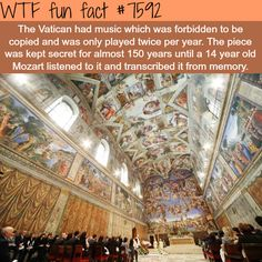 Franco Origlia/Getty Images(VATICAN CITY) -- Five hundred years ago, Michelangelo put down his brush -- his masterpiece in the Sistine Chapel completed. The great master had toiled for years and years, and to this day, his efforts are still on display . Wtf Fun Facts, Funny Facts, Funny Memes, Random Facts, Michelangelo, The More You Know, Did You Know, Sistine Chapel, Faith In Humanity